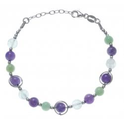 Bracelet argent rhodié 8,2g - amazonite - amethyste -  fluorite - 17+3cm
