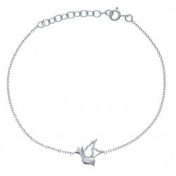 Bracelet argent rhodié 1,6g - colombe - 17+3cm
