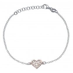 Bracelet argent rhodié 1,9g - cœur - 2 tons - rosé et rhodié - 17+3cm