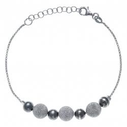 Bracelet argent rhodié 2,8g - 2 tons - 2 boules noir et satinée rhodiée -17+3CM