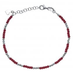 Bracelet argent rhodié 3,3g - perles argent et perles rouges - 17+3cm
