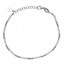 Bracelet argent rhodié 3,3g - perles argent et perles blanches - 17+3cm