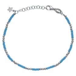 Bracelet argent rhodié 3,3g - perles argent et perles turquoises - 17+3cm
