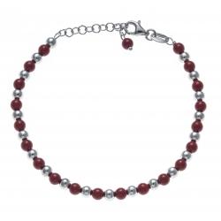Bracelet argent rhodié 4,7g - perles rouges et argent - 17+3cm