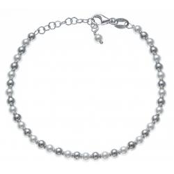 Bracelet argent rhodié 4,7g - perles synthéthiques et argent - 17+3cm