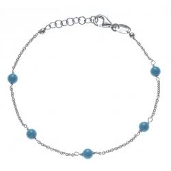 Bracelet argent rhodié 1,9g -  5 perles bleues turquoises - 17+3cm
