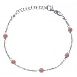 Bracelet argent rhodié 1,9g -  5 perles roses saumon - 17+3cm
