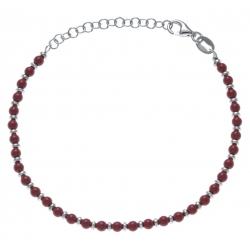 Bracelet argent rhodié 4g - perles rouges - 17+4cm