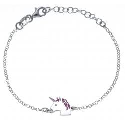 Bracelent argent rhodié 2,1g - enfant - licorne - email - 14+3cm