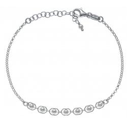 Bracelet argent rhodié 2,2g - perles synthéthiques - 17+3cm