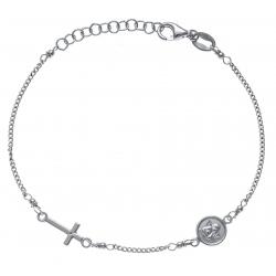 Bracelet argent rhodié 2,3g - croix - ange - 17+3cm