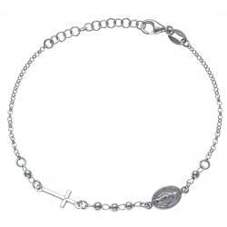 Bracelet argent rhodié 2,8g - croix - vierge - 17+3cm