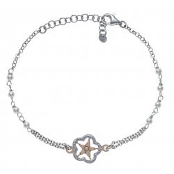 Bracelet argent rhodié 2,8g - étoile - 2 tons - rosé et rhodié - perles synthéti