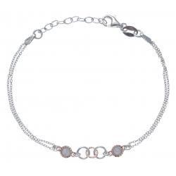 Bracelet argent rhodié 2,3g - 2 tons - rosé et rhodié - 2chaines - 17+3cm