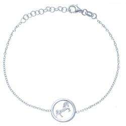 Brracelet argent rhodié 2g - licorne - 17+3cm