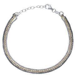 Bracelet argent rhodié 3,6g - 3 tons - noir,doré,rhodié -17+3cm