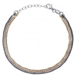 Bracelet argent rhodié 3,6g - 3 tons - noir doré, rosé - 17+3cm