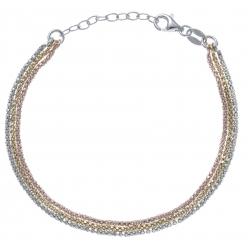 Bracelet argent rhodié 3,6g - 3 tons - rhodié, doré, rosé - 17+3cm