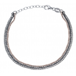 Bracelet argent rhodié 3,6g - 3 tons - rhodié, rosé, noir - 17+3cm