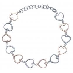 Bracelet argent rhodié 4,5g - 2 tons - rosé et rhodié - cœurs - 17+3cm