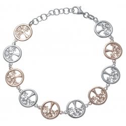 Bracelet argent rhodié 7,4g - 2 tons - rosé et rhodié - arbre de vie - 17+3cm