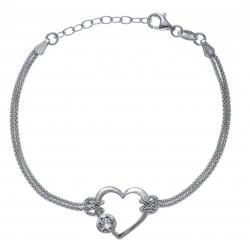 Bracelet argent rhodié 3g - cœur - cristal de swarovski - 17+3cm