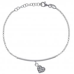 Bracelet argent rhodié 2,9g - cœur - zircons - 17+3cm