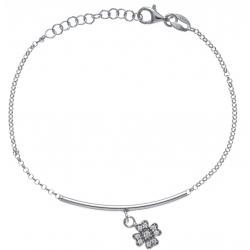 Bracelet argent rhodié 2,9g - trèfle - zircons - 17+3cm