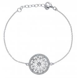 Bracelet argent rhodié 3g - zircons -  diamètre 2cm - 17+3cm