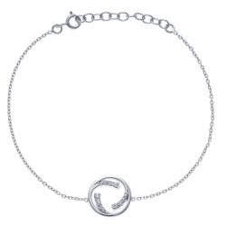Bracelet argent rhodié 2,4g - zircons - 17+3cm