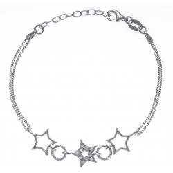 Bracelet argent rhodié 3,6g - étoiles - ronds - zircons - 2 chaines - 17+3cm