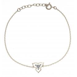 Bracelet plaqué or iris - triskel - 2 tons - zircons - 17+3cm