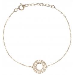 Bracelet plaqué or - cercle 1,3cm - motif indien - 17+3cm