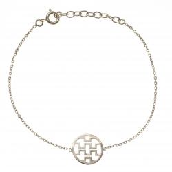 Bracelet plaqué or - motifs géométriques - 17+3cm