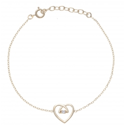 Bracelet plaqué or cœur - zircon - 17+3cm
