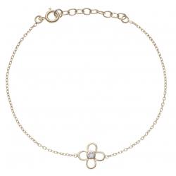 Bracelet plaqué or marguerite - zircon - 17+3cm