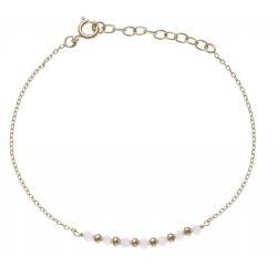 Bracelet plaqué or - 7 boules plaquées - 7 boules roses -  17+3cm