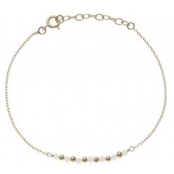 Bracelet plaqué or - 7 boules plaquées - 7 boules blanches -  17+3cm