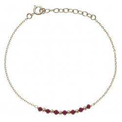 Bracelet plaqué or - 7 boules plaquées - 7 boules rouges -  17+3cm