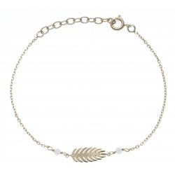 Bracelet plaqué or - feuille - perles roses -  17+3cm
