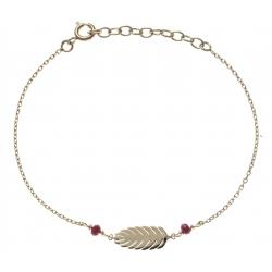 Bracelet plaqué or - feuille - perles rouges -  17+3cm