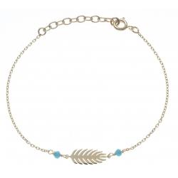 Bracelet plaqué or - feuille - perles turquoises -  17+3cm