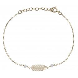 Bracelet plaqué or - feuille - perles blanches -  17+3cm