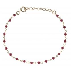 Bracelet plaqué or - perles rouges -  17+3cm