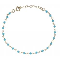 Bracelet plaqué or - perles bleues turquoises -  17+3cm
