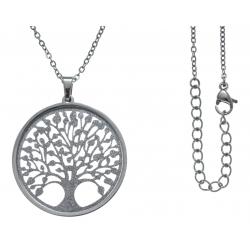 Collier acier - arbre de vie - satiné - diamètre 3cm - 45+5cm
