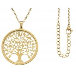 Collier acier doré - arbre de vie - satiné - diamètre 3cm - 45+5cm