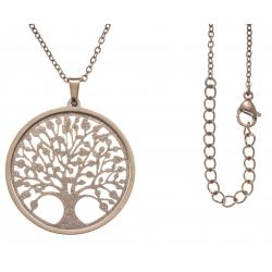 Collier acier rosé - arbre de vie - satiné - diamètre 3cm - 45+5cm