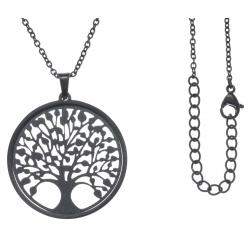 Collier acier noir - arbre de vie - satiné - diamètre 3cm - 45+5cm