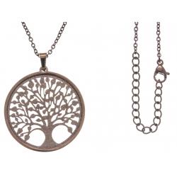Collier acier café - arbre de vie - satiné - diamètre 3cm - 45+5cm